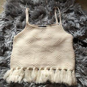 Lulu's Del Mar Cream Tasseled Knit Sweater Tank